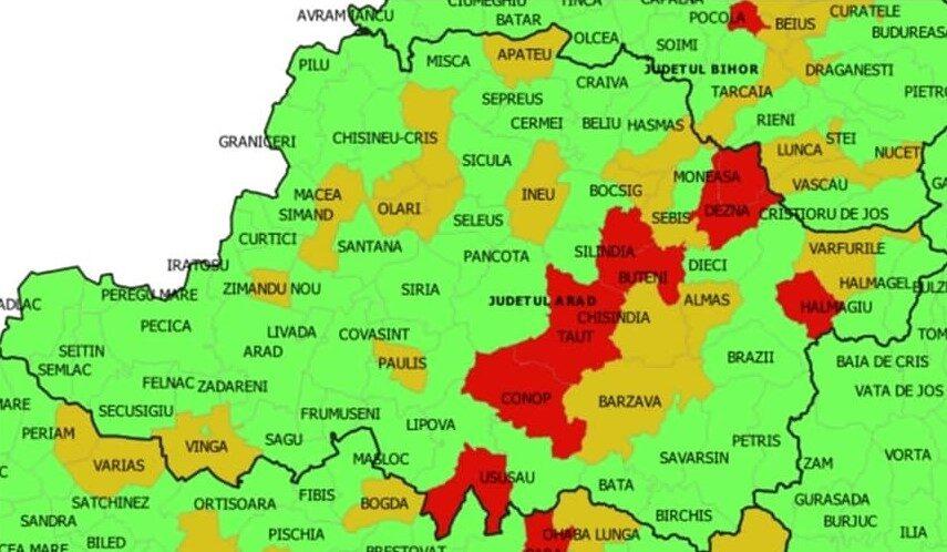 Deschiderea școlilor: Județul Arad are cele mai multe localități cu cod roșu de coronavirus